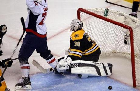 As Joel Ward's series-winning goal 2:57 into overtime off Tim Thomas bounces back out of the net, the Capitals' Mike Knuble, who got the assist, turns and begins his celebration.